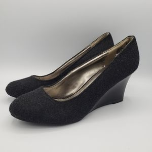 Dexter black fabric rounded toe wedges shoes